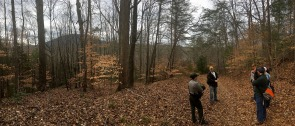 Ranger Robin Riddlebarger leads the Design Team on a hike through the Vade Mecum property.